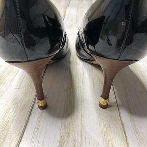Tory Burch Black Patent Leather Peep Toe